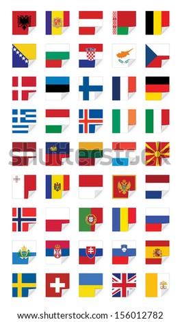 Flags of European States, on white