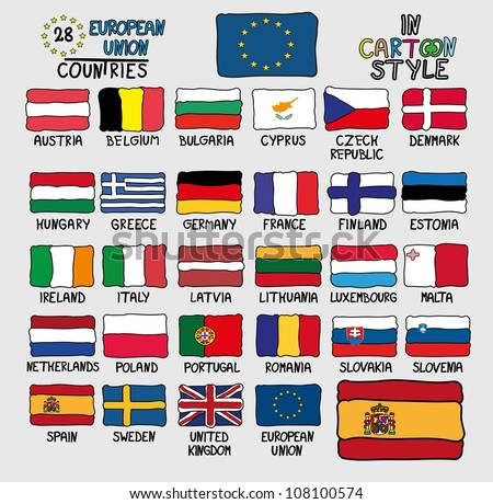 Flags of European Union Countries in Cartoon Style