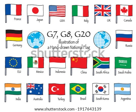 Flags of G20 member countries. Flags are hand-drawn illustrations.