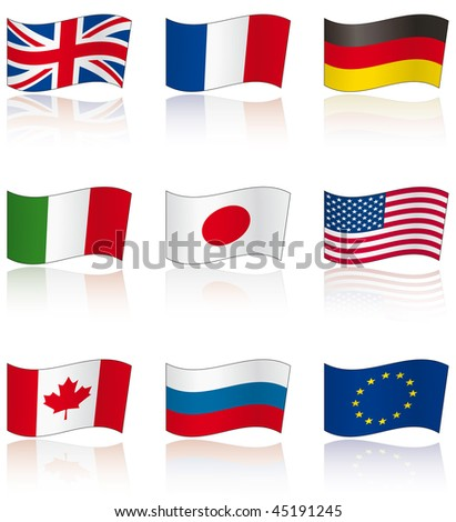 Flags of G8 members (and EU) with reflection on white background