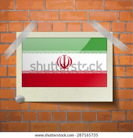 flags of iran scotch taped to a