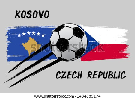 flags of kosovo and czech