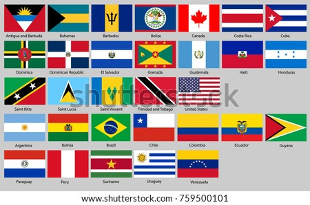 flags of North and South America. Proportion 2:3