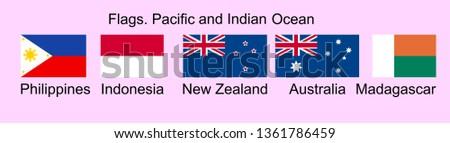 Flags of Oceania countries in original colors. Philippines, Indonesia, New Zealand, Australia, Madagascar