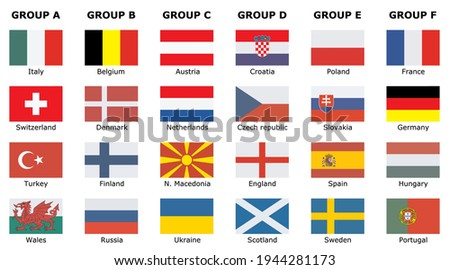 Flags of participating teams with text for the 2020 cup