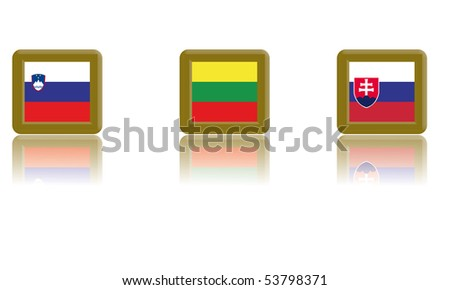 Flags of Slovenia, Lithuania and Slovakia with gold frame and reflection