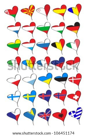 flags of the countries of Europe in the form of hearts