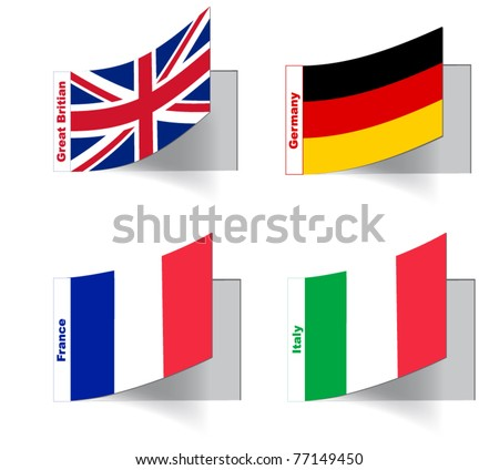 Flags of the countries of Europe in the form of labels #77149450