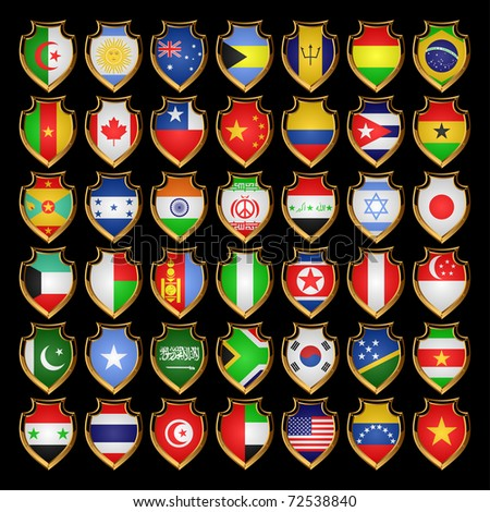 Flags of the countries of the North America, the South America, Asia and Africa. Flags in the form of badges.EPS-10.