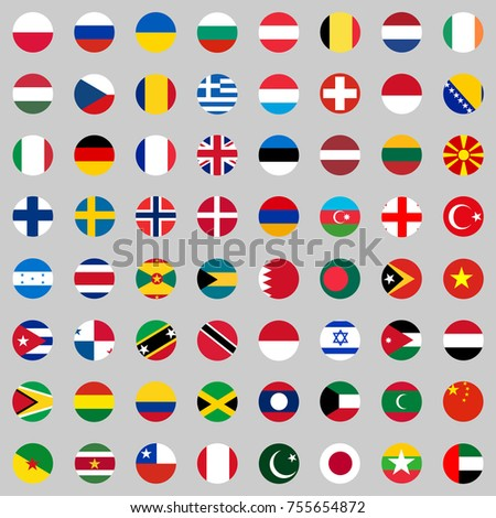 Flags of the countries of the world, a large set of flags of different countries. Flat design, vector illustration, vector. #755654872
