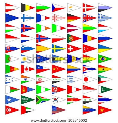 Flags of the countries of the world. A set of the isolated icons on a white background.