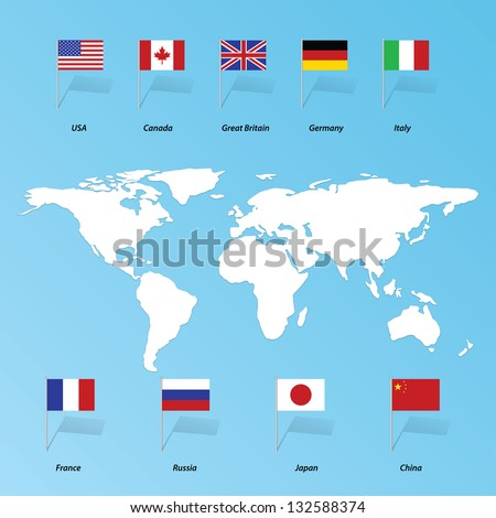flags of the States of the United States, China, Britain, France, Russia, Canada, Italy, Germany, Japan. Eps10
