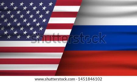Flags of the USA and Russia. The concept of relations between States, economic community, politics. Vector illustration.