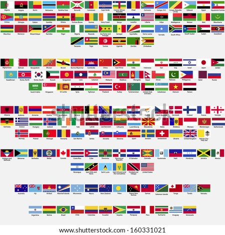 Shutterstock Flags of the world, all sovereign states recognized by UN, collection, listed alphabetically by continents, eps 10