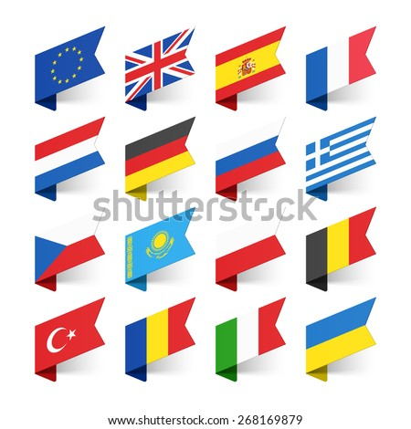 Flags of the World, Europe, set 1 vector illustration