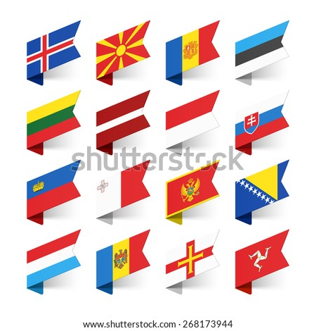 Flags of the World, Europe, set 3 vector illustration  #268173944