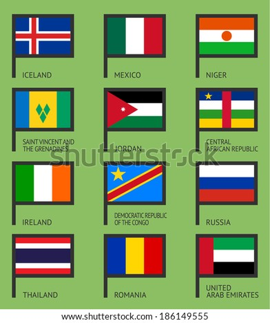 flags of the world  flat vector