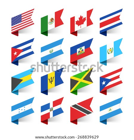 Flags of the World, North America, vector illustration