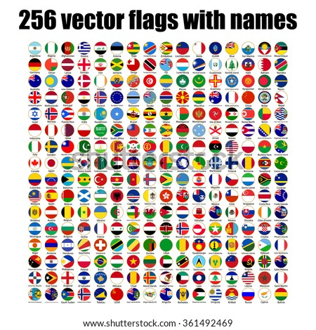 flags of the world  round icons