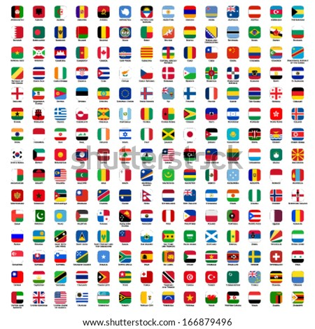 flags of the world - rounded rectangles icons with detailed emblems and official colors #166879496