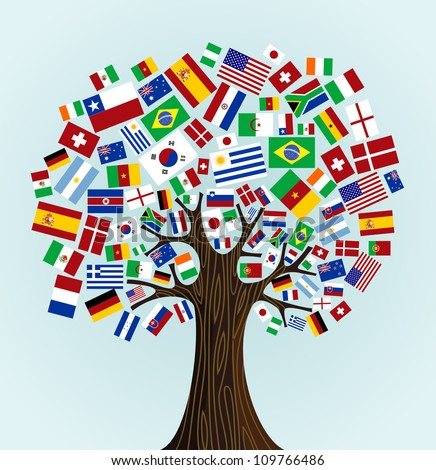Flags of the World tree: countries participants of Soccer Cup 2010. Vector file available.