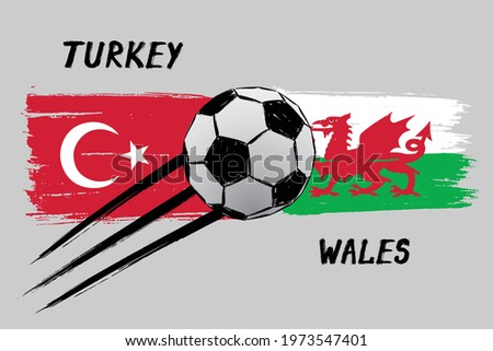 Flags of Turkey And Wales - Icon for euro football championship qualify - Grunge