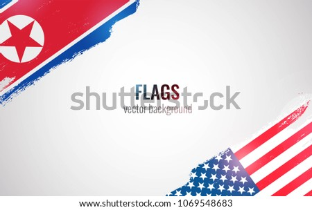 Flags of USA and North Korea isolated on white background. Vector illustration
