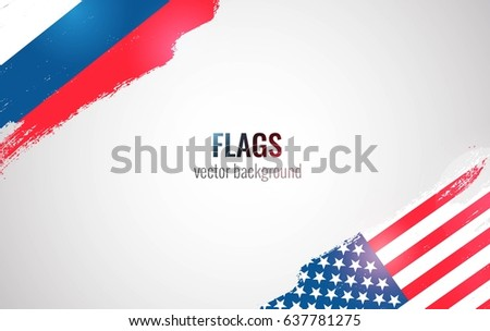 flags of usa and russian
