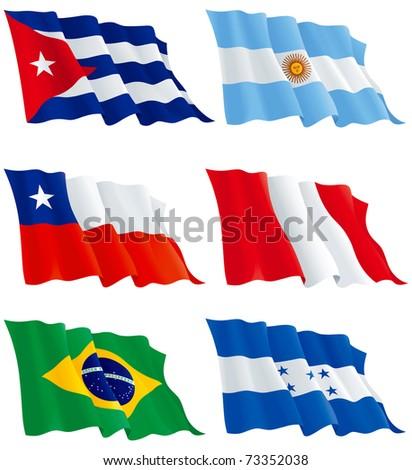 flags set 7 honduras  cuba
