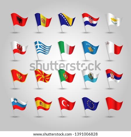 flags southern europe on silver pole -  albania andorra bosnia croatia cyprus gibraltar greece italy kosovo malta montenegro macedonia portugal san marino serbia  slovenia spain turkey eu
