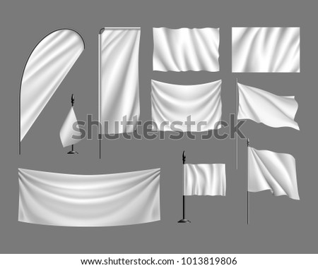 Flags vector mockup. Set white flags, banners, streamers on gray background. Vector template, collection of empty cloths
