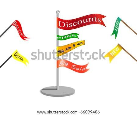 Flags with commercial signs. sale, discount, bonus, etc etc. Vector, EPS 8.