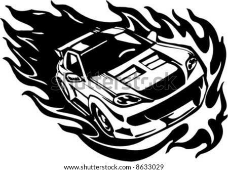 Black White Clip  Auto Racing on Stock Vector   Flame And Street Racing Cars   Series Vector Images