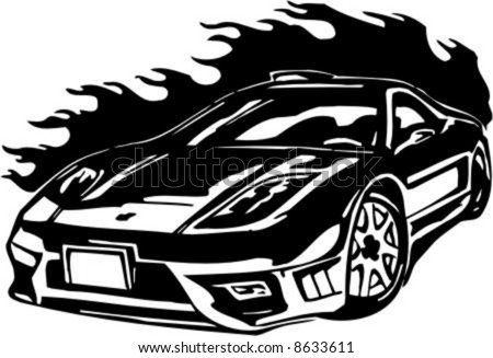 Auto Street Racing Cars on Stock Vector   Flame And Street Racing Cars   Series Vector Images