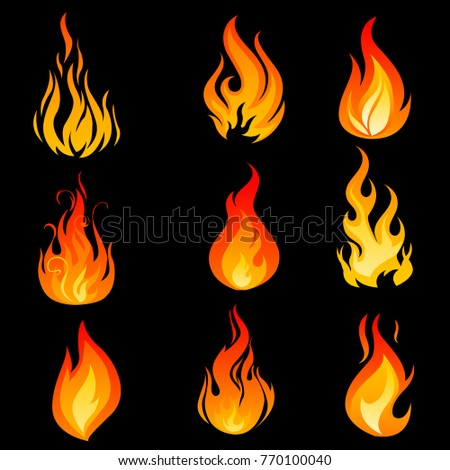 Flame fire icons orange emblems isolated