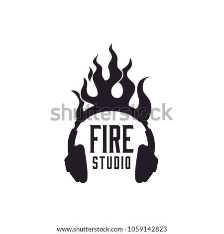 flame headphone logo design