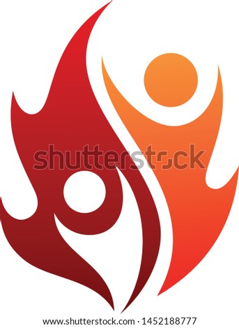 Flame life vector icon with two people in abstract style on the white background. Fire icon for your best business symbol. Vector illustration EPS.8 EPS.10