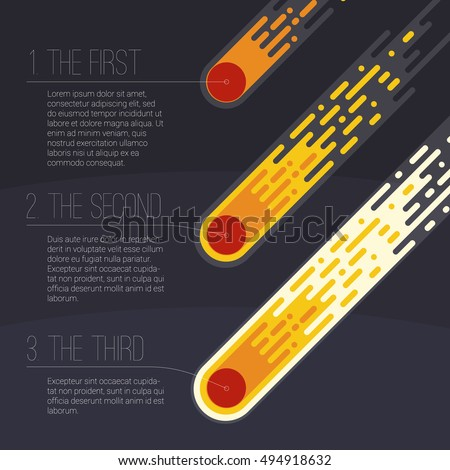 flame meteorite flat design