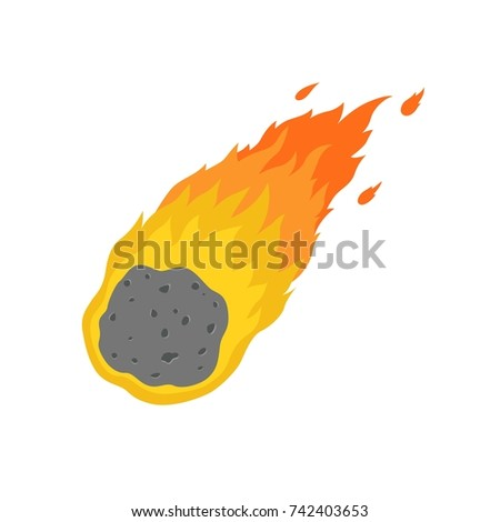 flame meteorite icon in cartoon