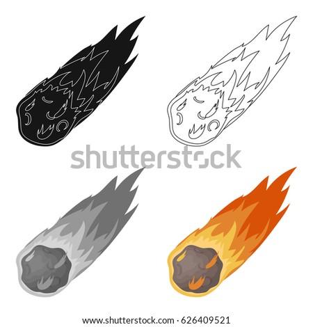 flame meteorite icon in cartoon