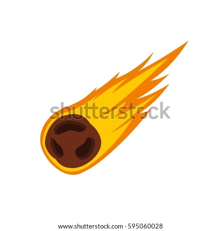 flame meteorite icon isolated