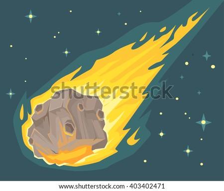 flame meteorite vector flat