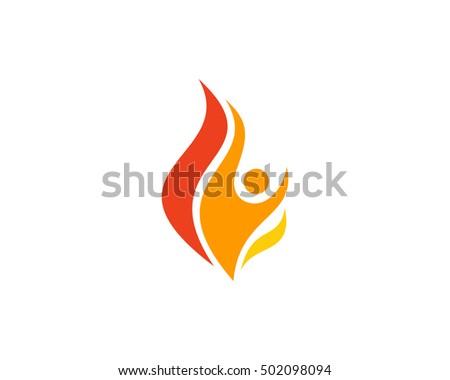 flame people fire logo design