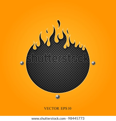flame speakers orange background. vector illustration - stock vector