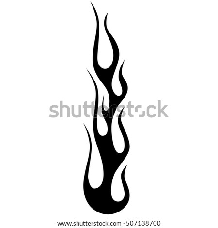 Flame tattoo tribal vector design sketch. Fire black isolated template logo on white background.