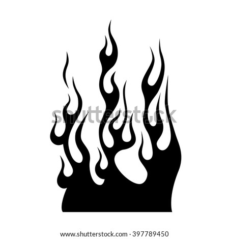 flame vector tribal illustration -fire black isolated template logo on white background