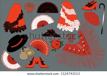 Flamenco dancer belongings. Clothes and other flamenco dancer attributes. Everything necessary for traditional Spanish dancer. Foto stock ©