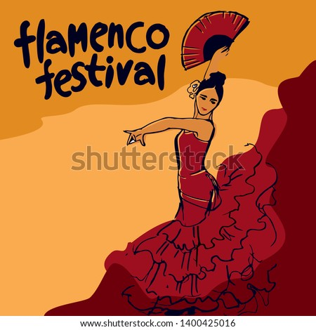 flamenco festival poster drawn by hand. Girl in a red dress in a dance pose with a red fan in his hand at the top of the inscription flamenco festival written by hand vector picture Foto stock ©