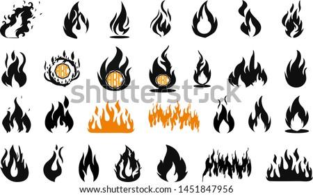 Flames bundle, flames SET. Fire flame icon. VECTOR