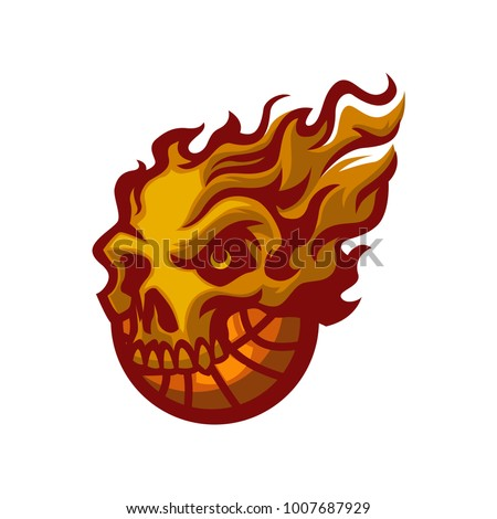 flames skull basketball cutom
